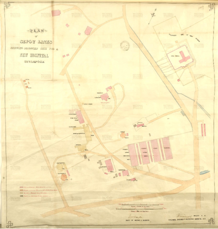Plan of Sepoy Lines showing proposed site for a new hospital 1879. From public record Office: Maps and plans extracted to rolled storage from various series of records. Straits Settlements: Singapore.