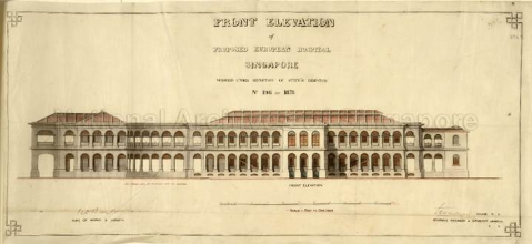 Front elevation of proposed European Hospital, c.1879