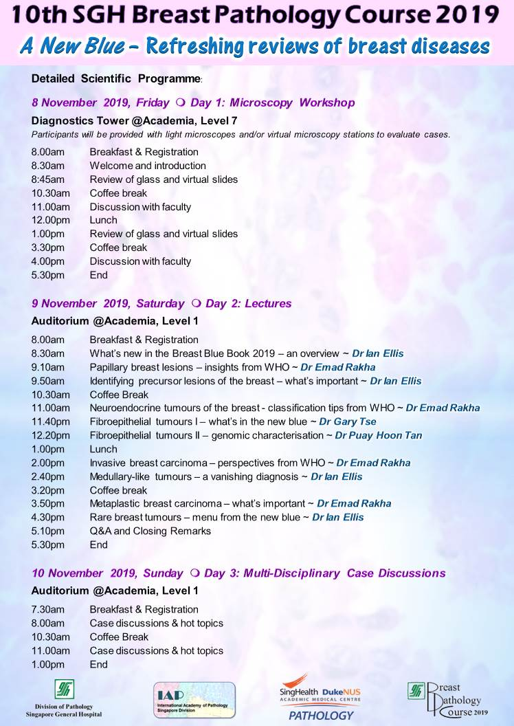 10th Anniversary SGH Breast Pathology Course 2019