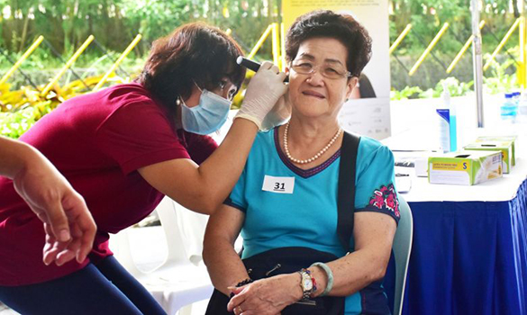 can get their ears checked at the Project Silver Screen functional screening programme. PHOTO MINISTRY OF HEALTH