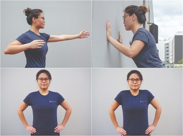 ​​Dr Bernice Liu, Principal Physiotherapist at Sengkang General Hospital, demonstrates basic workout moves, such as trunk rotation, wall push-ups and shoulder shrugs, that can be done at home.