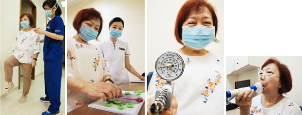 Patients' functional abilities are evaluated via various tests, such as (from left) the two-minute step test cognition assessment, grip test, and peak cough flow assessment.